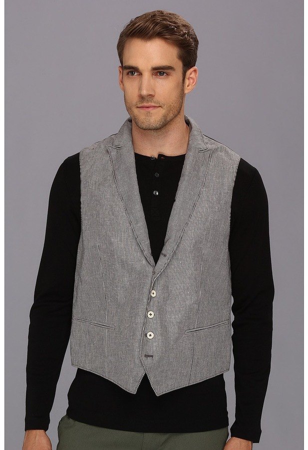 John Varvatos 5B Peak Lapel Vest With Wire (Black) - Apparel