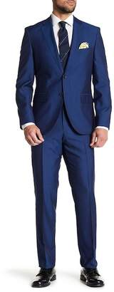 BOSS Johnston Medium Blue Two Button Notch Lapel Wool Suit