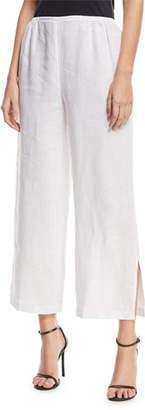 Caroline Rose Tissue Linen Wide-Leg Pants, Plus Size
