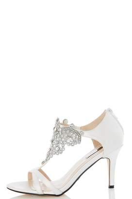 Quiz White Satin Jewel Front Bridal Sandals