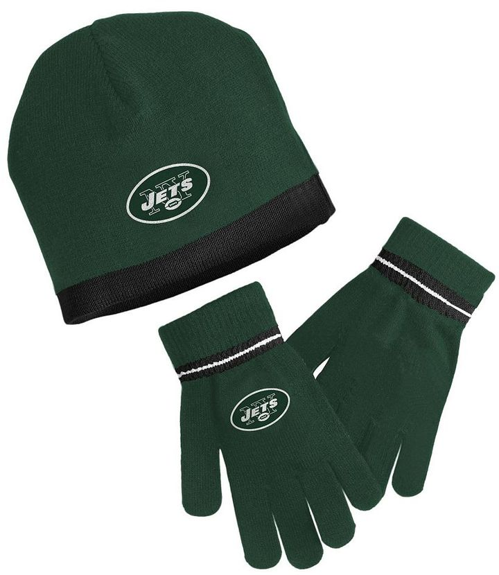 Reebok new york jets knit cap & gloves set - youth