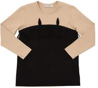 Cotton Jersey T-Shirt W/ Fringe