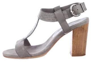 Lola Cruz Embellished T-Strap Sandals