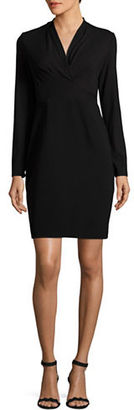 Elie Tahari Mock Wrap Long Sleeved Dress $298 thestylecure.com