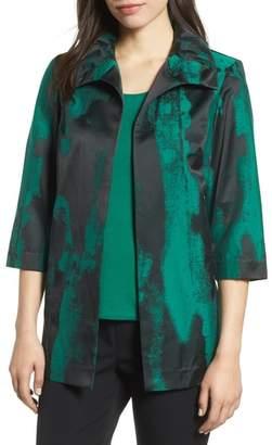 Ming Wang Print Cotton Blend Jacket