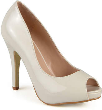 Journee Collection Lowis Peep-Toe Patent Pumps