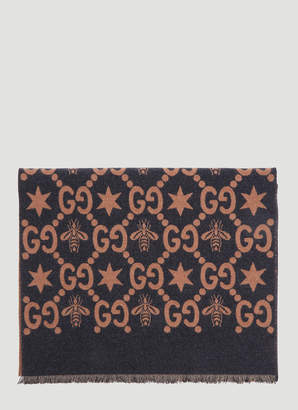 Gucci Bees and Stars GG Jacquard Scarf in Grey