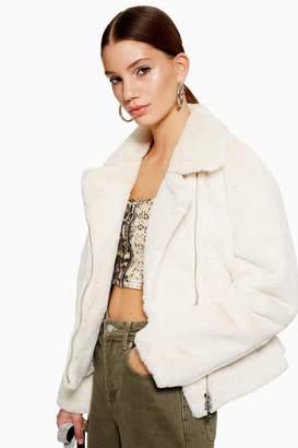 Topshop Womens Faux Fur Biker Jacket - Cream