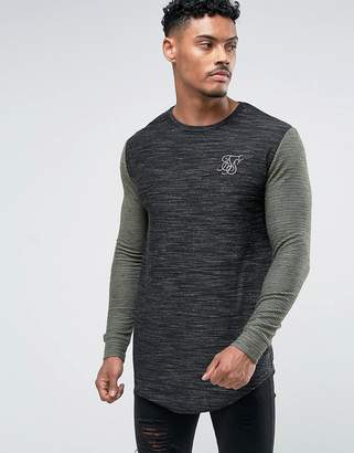 SikSilk Muscle Long Sleeve T-Shirt In Black With Khaki Sleeves