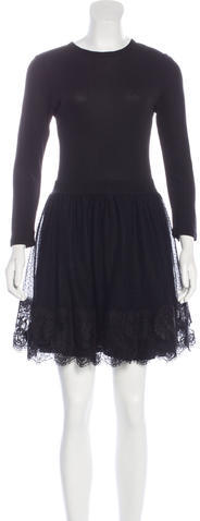 RED ValentinoRed Valentino Lace-Accented Mini Dress