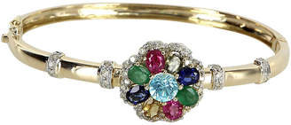 One Kings Lane Vintage Rainbow Gemstone Diamond Bangle Bracelet