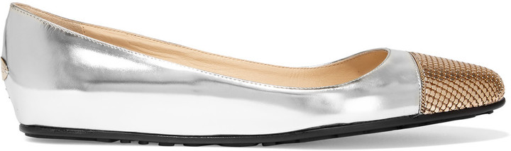 Jimmy Choo Jimmy Choo Waine embellished metallic leather ballet flats
