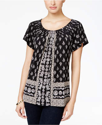 Style & Co Printed Pleat-Neck Top, Only at Macy's $19.98 thestylecure.com