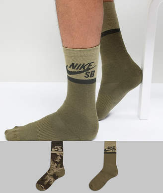 Nike Sb SB 2 Pack Crew Socks In Green SX6848-902
