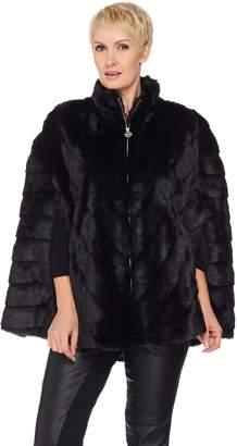 Dennis Basso Platinum Collection Grooved Faux Fur Cape