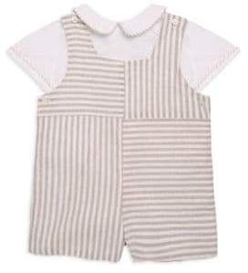 Luli and Me Baby's Stripe Linen Shortall Set