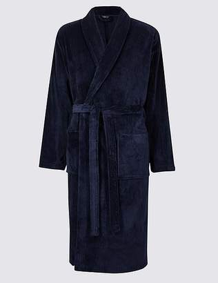 Marks and Spencer Fleece Striped Dressing Gown with Belt