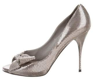 Valentino Metallic Peep-Toe Bow Pumps