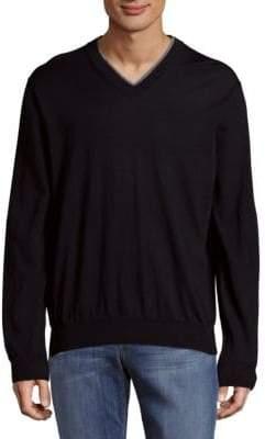 Canali Casual V-Neck Wool Sweatshirt