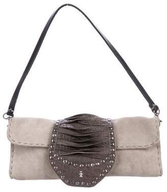 Henry Beguelin Suede & Embossed Leather Shoulder Bag
