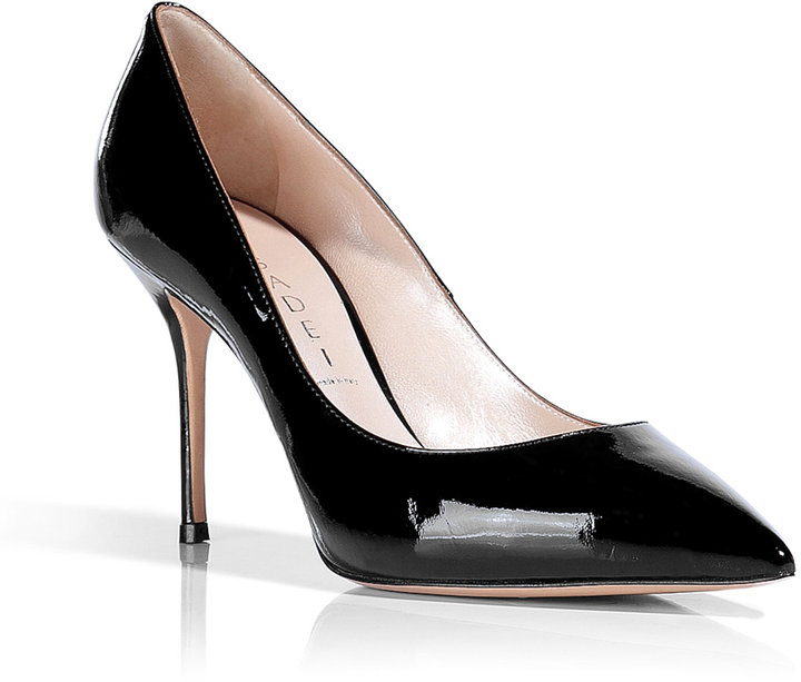 Casadei Black Patent Pointed Toe Pumps