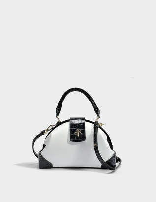 Atelier Manu Demi Croc Print Top Handle Bag in Black and White Vegetable Tanned Calfskin