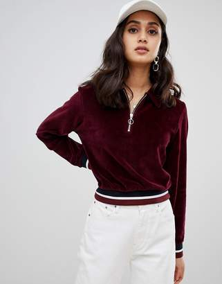 Asos Design DESIGN velour sweat with collar and contrast tipping