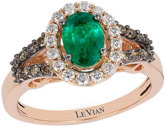 Le Vian 14ct Strawberry Gold Costa Smeralda Emerald Ring