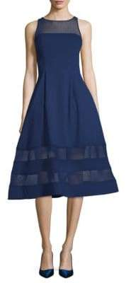 Aidan Mattox Illusion-Neck Fit-&-Flare Dress