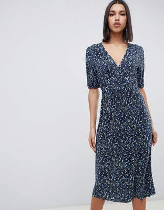 Asos DESIGN midi ditsy print plisse tea dress with elasticated waist