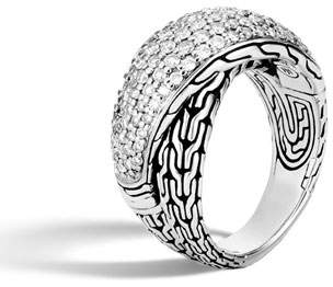 John Hardy Classic Chain Arch Diamond Pave Silver Crossover Ring