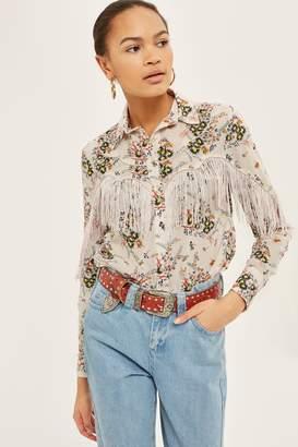 Topshop Rodeo Fringe Floral Shirt