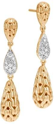 John Hardy Classic Chain Gold Long Drop Earrings with Diamonds