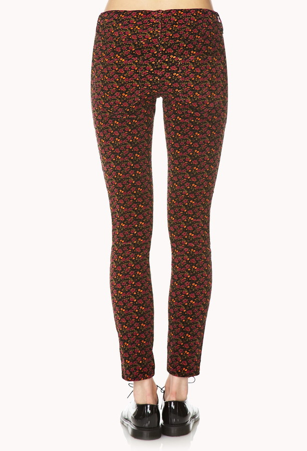 Forever 21 retro floral corduroy skinnies
