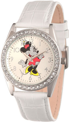 DISNEY Disney Womens White And Silver Tone Vintage Minnie Mouse Glitz Strap Watch W002764 $49.99 thestylecure.com