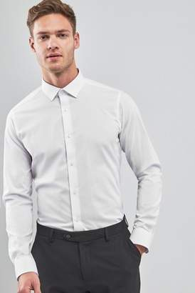 Mens White Slim Fit Single Cuff Stretch Easy Care Shirt