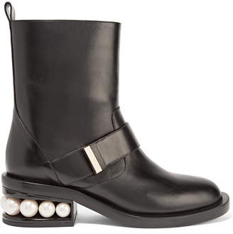 Nicholas Kirkwood Casati Embellished Leather Biker Boots - Black