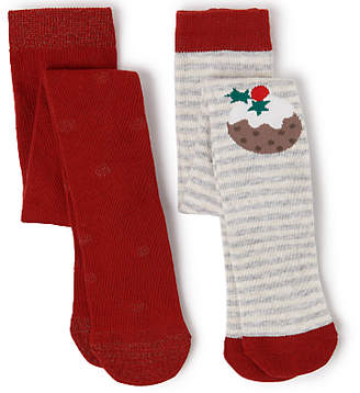 John Lewis Cotton Rich Christmas Pudding Tights, Pack of 2, Multi