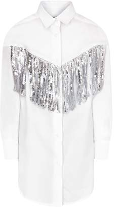 MSGM White Girl Shirt With Silver Fringes