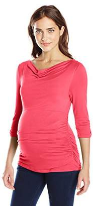 Everly Grey Women's Judith Maternity 3/4 Sleeve Side Shirred Boat Neck Top