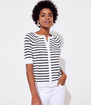 LOFT Striped Short Sleeve Signature Cardigan