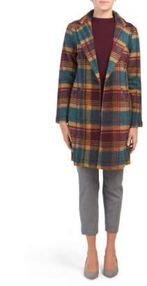 Wool Blend Oversized Retro Plaid Blazer