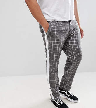 Asos Design Plus Slim Trousers In Grey Check With Side Stripe