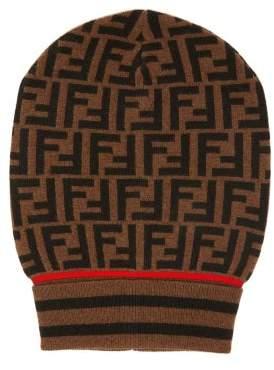 Fendi Ff Jacquard Cashmere Blend Beanie Hat - Womens - Brown