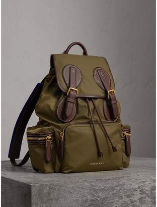 Burberry The Large Rucksack in Technical Nylon and Topstitched Leather