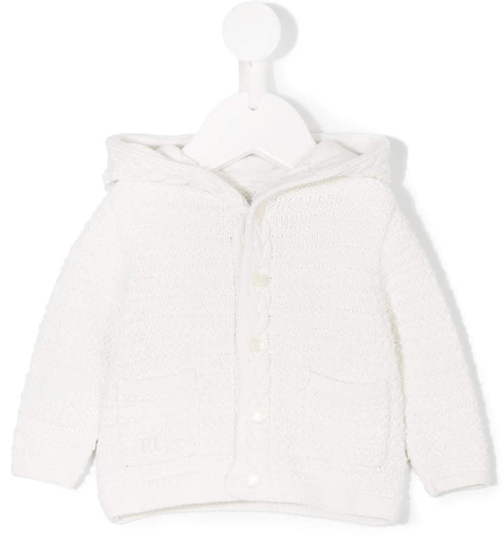 cable knit trim hooded cardigan