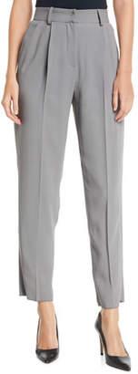 Emporio Armani High-Waist Straight-Leg Pleated Cady Pants