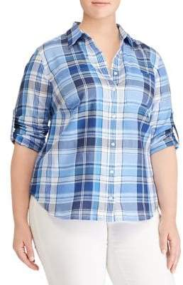 Lauren Ralph Lauren Plus Plaid Cotton Twill Button-Down Shirt