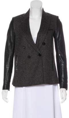 Veronica Beard Double-Breasted Leather Wool-Blend Jacket