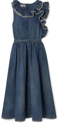 Co Belted Ruffled Denim Midi Dress - Blue